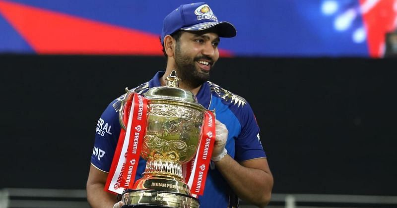 Rohit Sharma poses with his fifth IPL title as captain