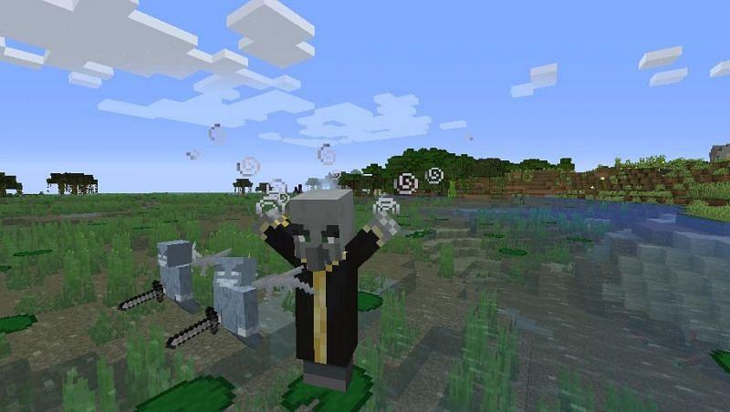 Shown: An evoker summoning two vexes (Image via Minecraft Fandom)