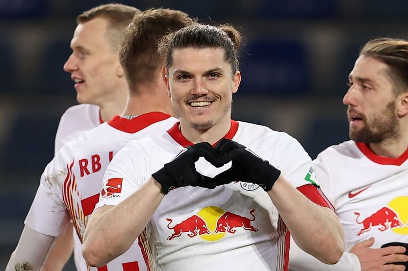 Marcel Sabitzer celebrates a goal for RB Leipzig