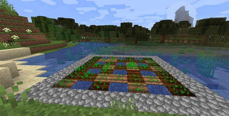 A basic farm that takes advantage of a river (Image via Minecraft)