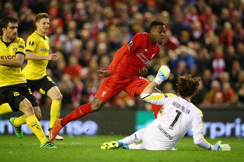 Divock Origi in action for Liverpool against Borussia Dortmund in 2016