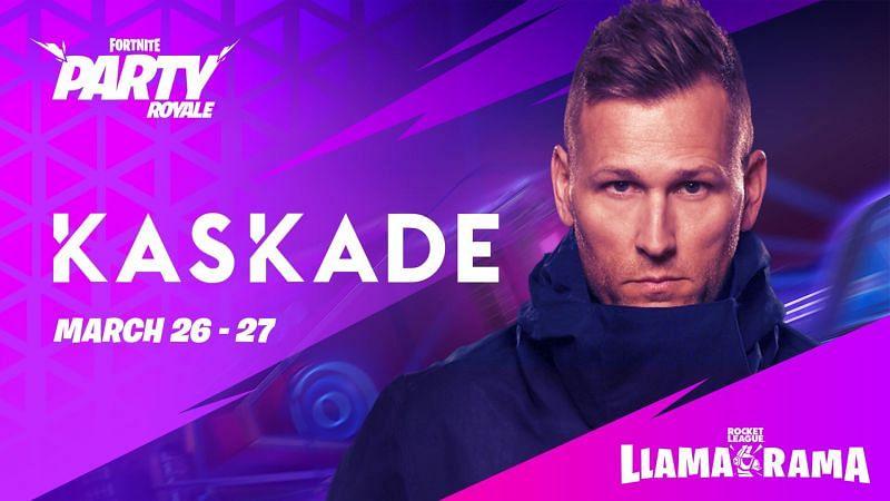 Fortnite Llama Rama event: DJ Kaskade in a Rocket League themed concert (Image via Epic Games)