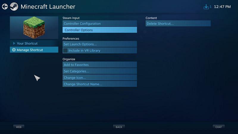 Gestion des raccourcis (Image via Steam)