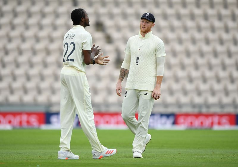 Jofra Archer in Test action for England against the West Indies