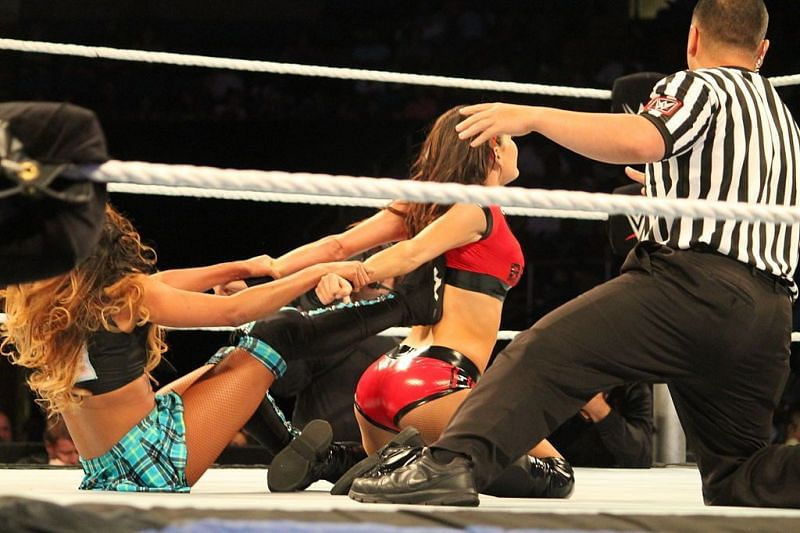 The Bella Twins comepted against Cameron and Naomi in WWE NXT