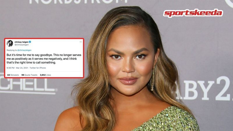 Chrissy Teigen recently quit Twitter after posting a series of tweets explaining her decision (image via Getty, Twitter)