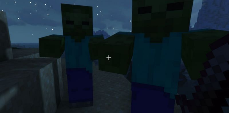 A couple of zombies about to get sweeped (Image via Minecraft)