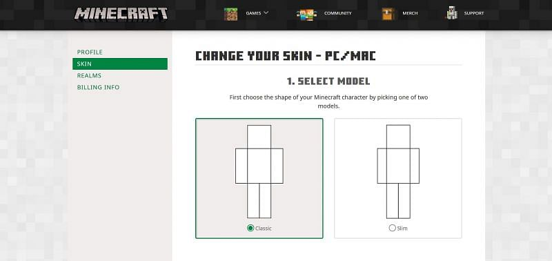Shown: Official Minecraft skin changing Web page (Image via Mojang)