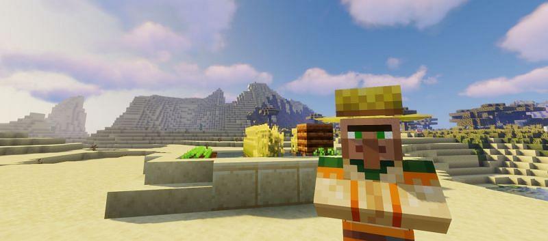 Shown: Just a farmer peacefully tending to his desert farm (Image via Minecraft)