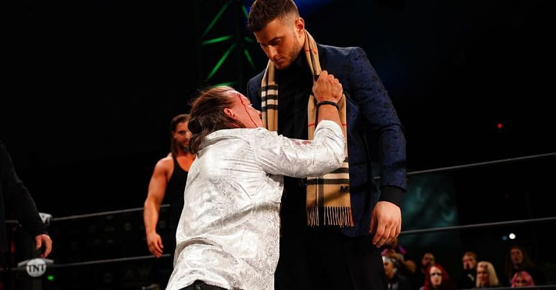 MJF and Chris Jericho during the debut of The Pinnacle