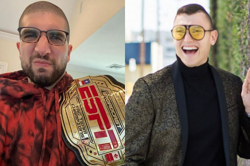 Ariel Helwani is being called out by The Schmo for the ESPN Broadcast Championship belt. (Photo: Ariel Helwani on Instagram [L] and theschmo312.com [R]).