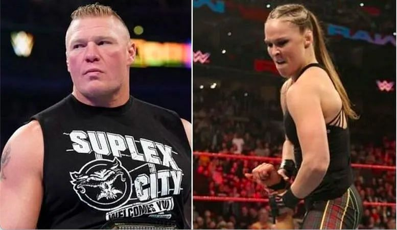 John Cena Sr. wants to see a role for Brock Lesnar (L) at WrestleMania