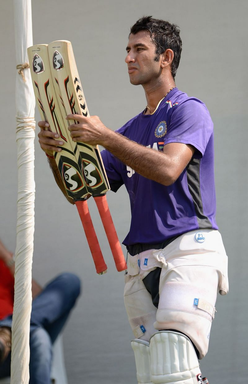 Pujara before the 2012 game where he scored a flawless double-hundred