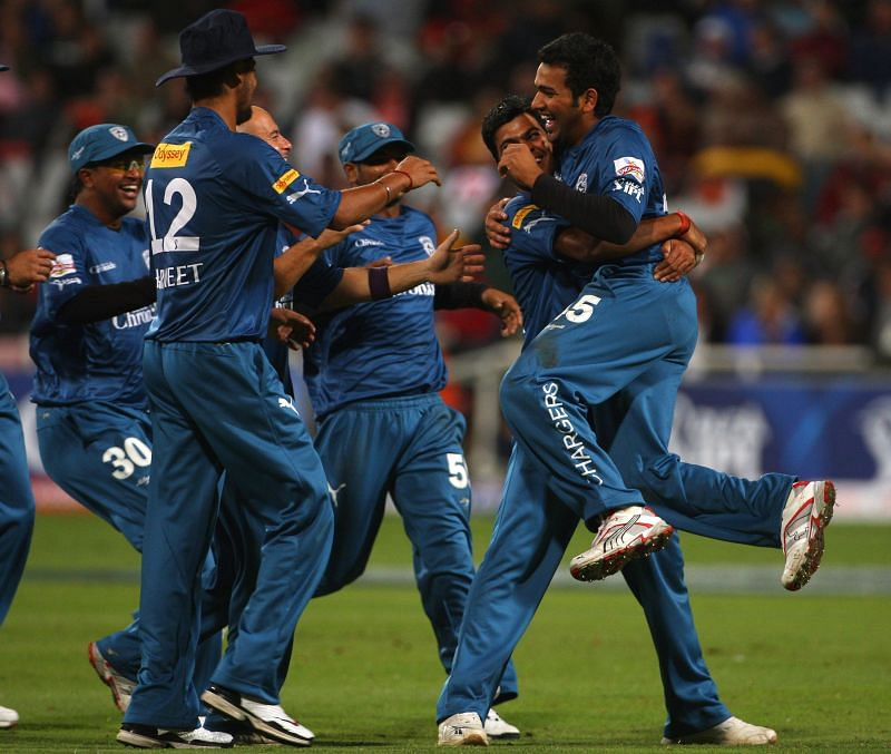 Deccan Chargers players celebrate during the IPL