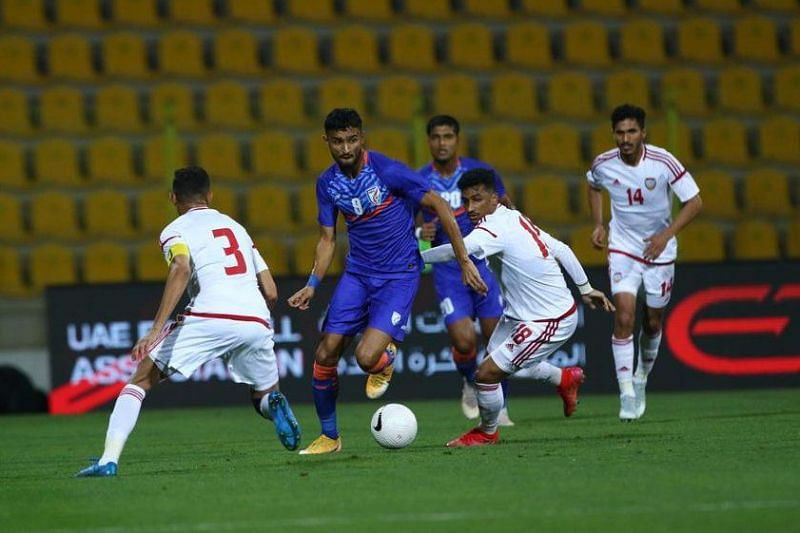 India striker Manvir Singh was left isolated up front and rarely got an opportunity against UAE (Image Credits: AIFF Media)