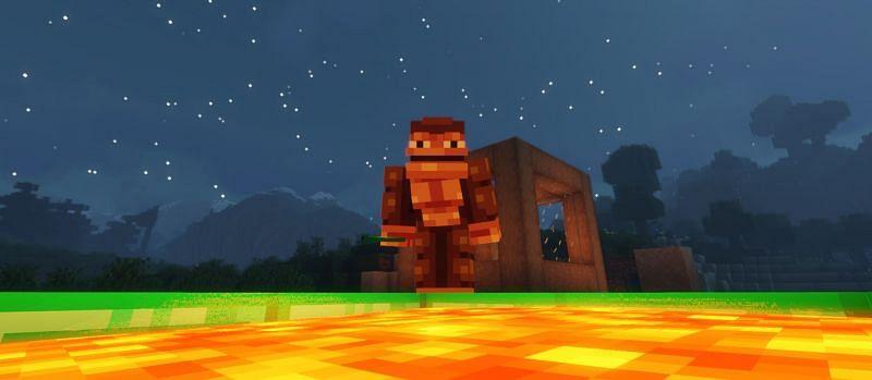 Monke sacrifices emerald for good fortune (Image via Minecraft)