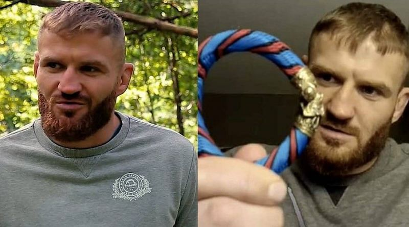 Jan Blachowicz at the forest (left); Jan Blachowicz with the bracelet (right)
