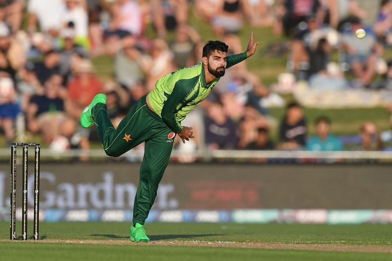 Shadab Khan in action for Pakistan