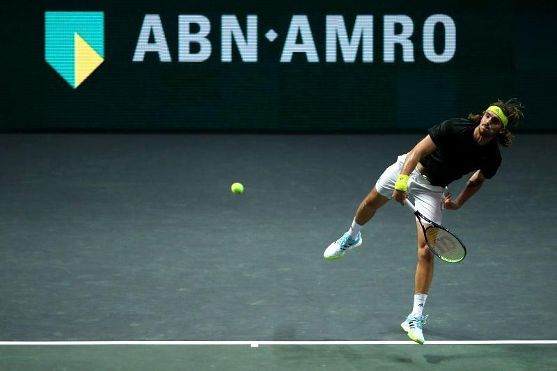Stefanos Tsitsipas serves at the 2021 Rotterdam Open