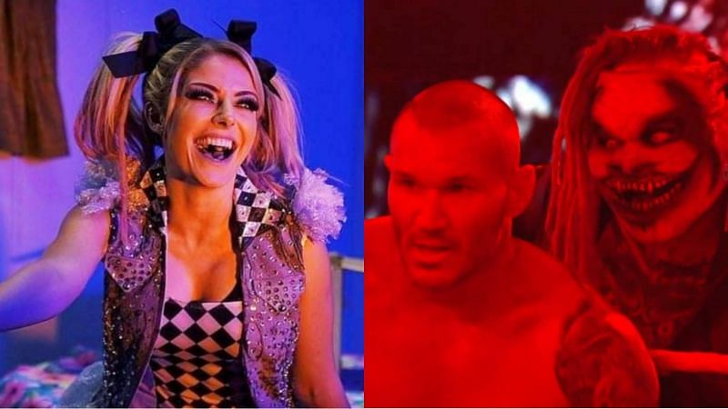 Alexa Bliss (left); Randy Orton and The Fiend (right)