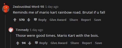 Shown: Players comparing this road with Rainbow Road (Image via Minecraft)
