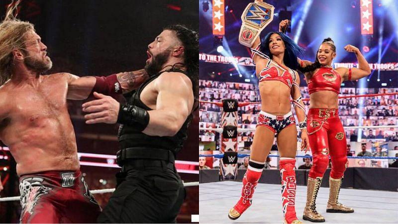 WWE यूनिवर्सल चैंपियन रोमन रेंस vs ऐज & SmackDown विमेंस चैंपियन साशा बैंक्स vs बियांका ब्लेयर