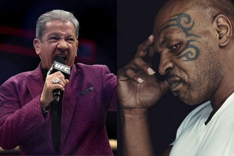 Bruce Buffer [L] and Mike Tyson [R]