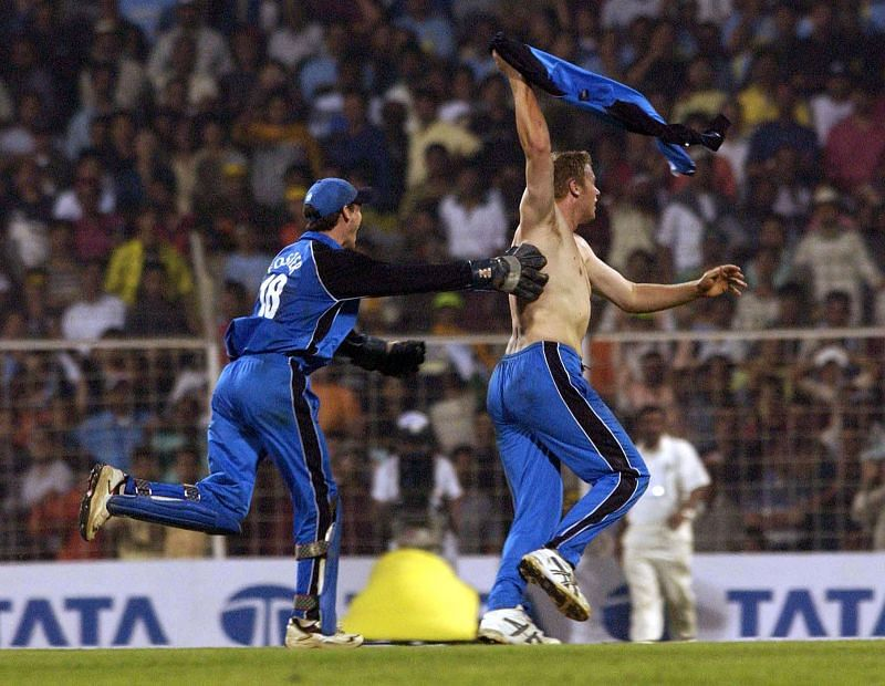 Fairy tale ending: Andrew Flintoff after winning the game versus India