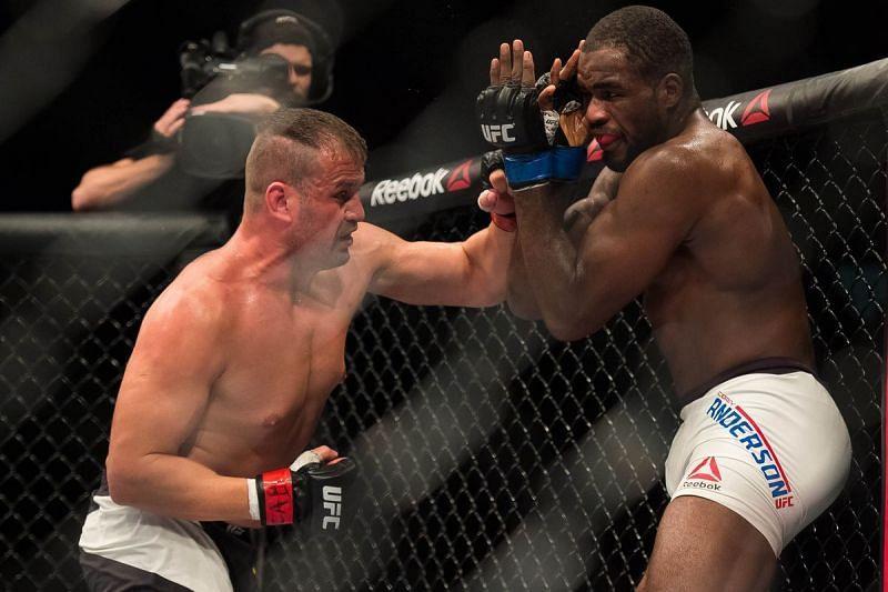 Fabio Maldonado strikes in a UFC bout