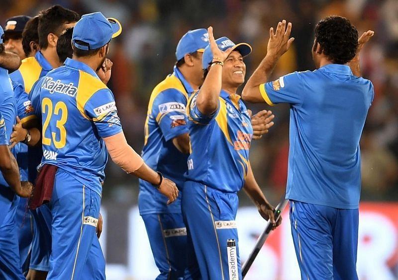 India Legends in celebration mood. Pic: Sachin Tendulkar/ Twitter