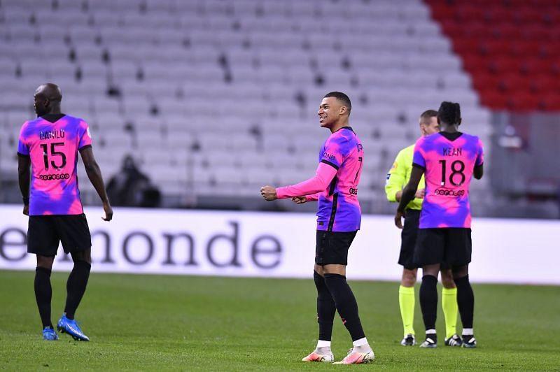 Kylian Mbappe celebrates after scoring a goal