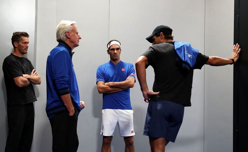 Bjorn Borg with Roger Federer and Rafael Nadal at the 2019 Laver Cup