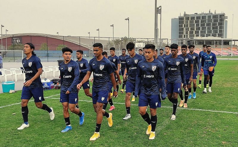 The Indian football team training in Dubai. (Image: AIFF)
