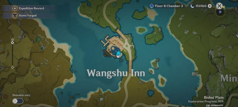 Location of Wangshu Inn in Liyue