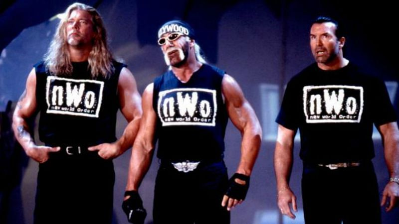Nash, Hogan and Hall in WWE as part of the NWO