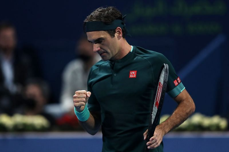 Roger Federer during his match against Dan Evans at the Qatar ExxonMobil Open in Doha, Qatar.