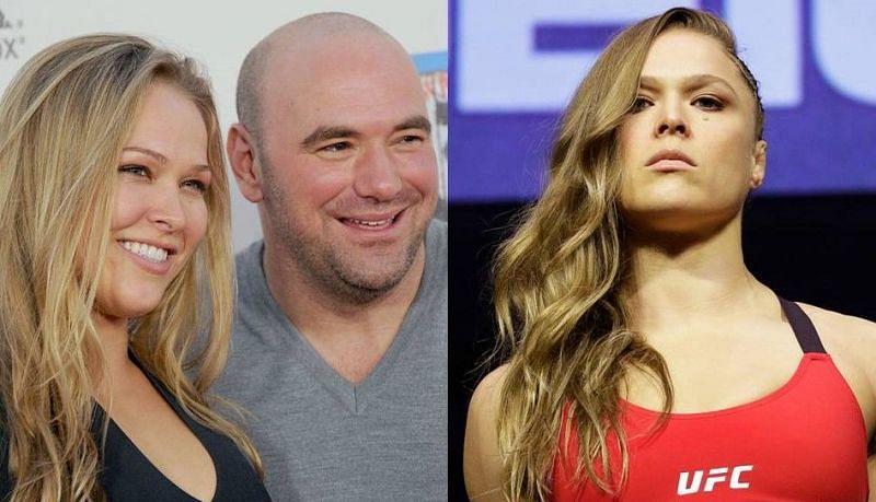 Ronda Rousey (left and right); Dana White (center)