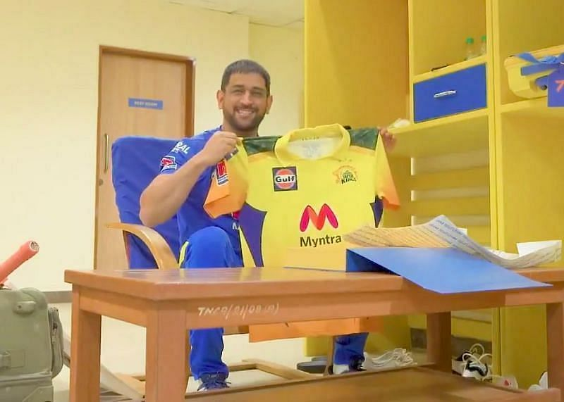 MS Dhoni unveils the new CSK jersey. Pic: Chennai Super Kings/ Instagram