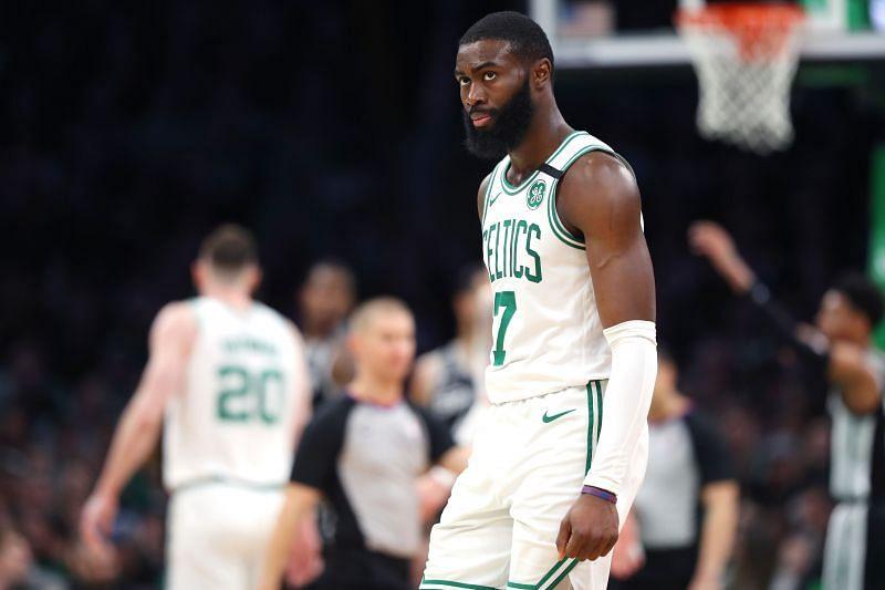 Jaylen Brown (#7) of the Boston Celtics