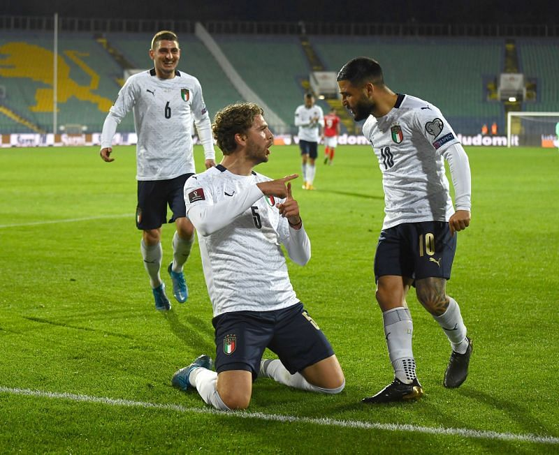 Manuel Locatelli celebrates his first goal for Italy.