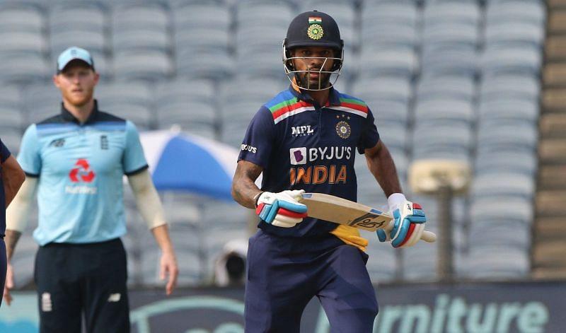 Shikhar Dhawan in the 1st ODI against England