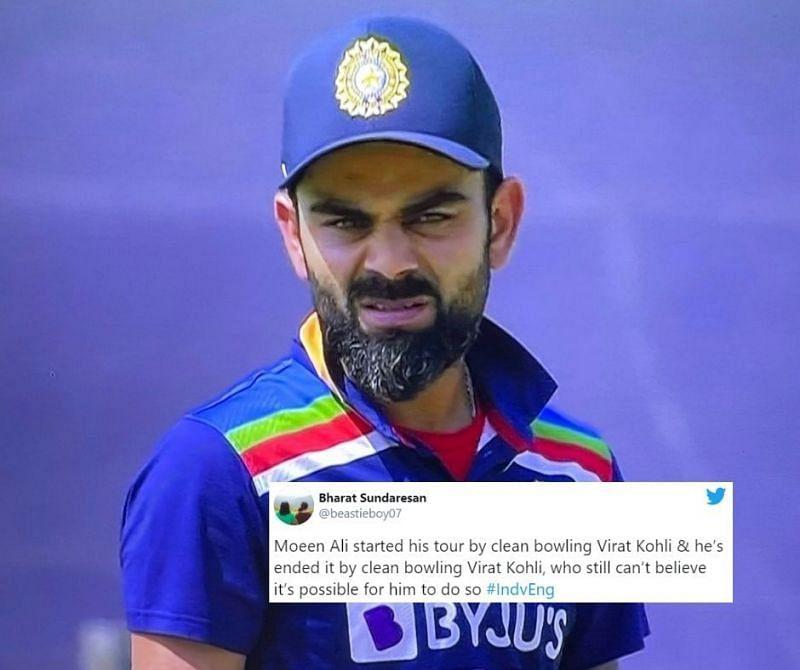 Virat Kohli in disbelief as he is cleaned up by Moeen Ali again