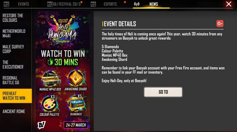 Preheat Watch to Win event is currently underway in Garena Free Fire