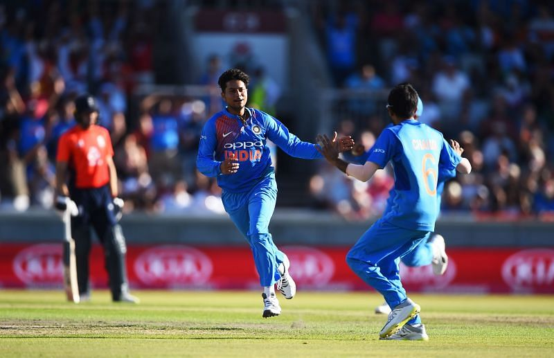 Kuldeep Yadav celebrates the wicket of Jonny Bairstow in the Manchester T20I in 2018.