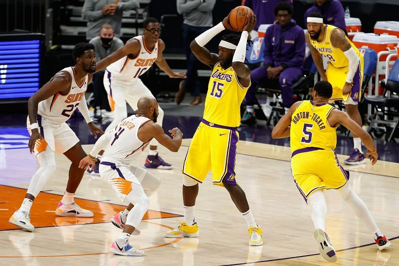 Montrezl Harrell (#15) will have to step up for the LA Lakers in LeBron James