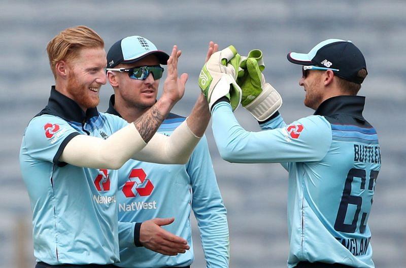 Ben Stokes celebrates a wicket for England