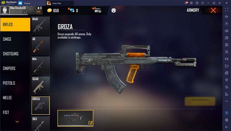 Groza in Free Fire (Image via bluestacks)