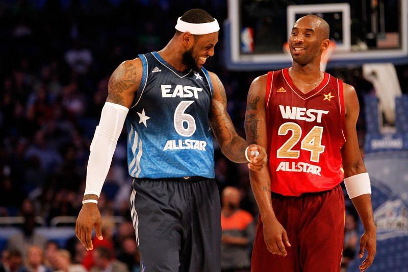 LeBron James and Kobe Bryant in the 2012 NBA All-Star Game.
