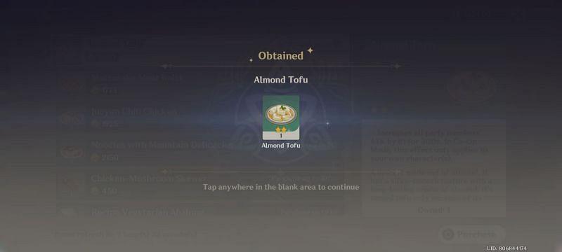 Almond Tofu in Genshin Impact