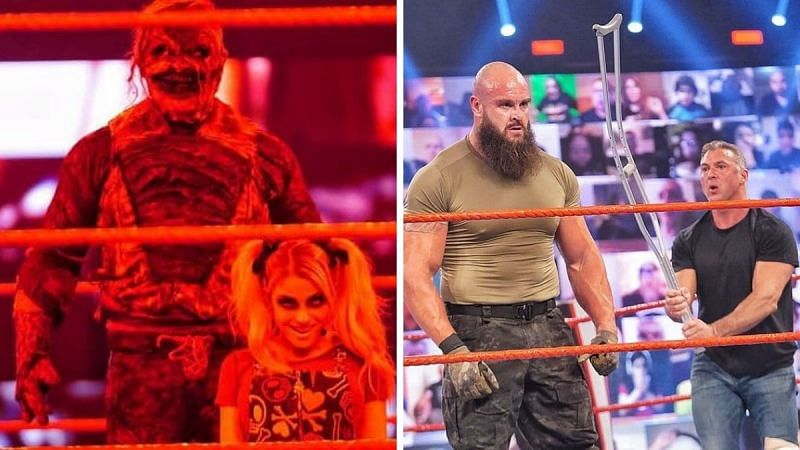 The Fiend and Alexa Bliss (left); Braun Strowman and Shane McMahon (right)